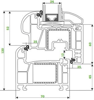 Kunststofffenster DREH LINKS Breite 080-110 AFG AV7000 5-Kammer Weiß